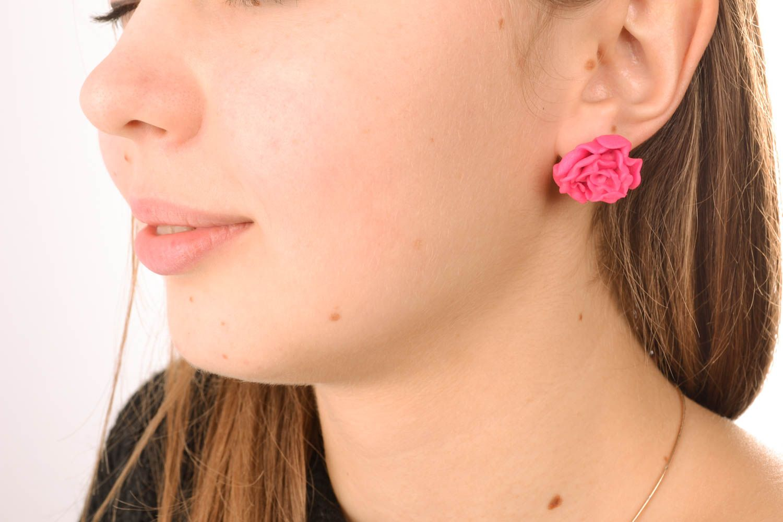 Polymer clay stud earrings photo 5