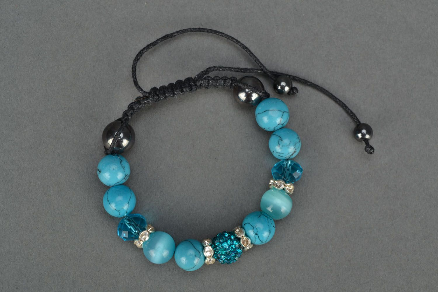 Homemade bracelet with natural stones Blue Sky photo 2