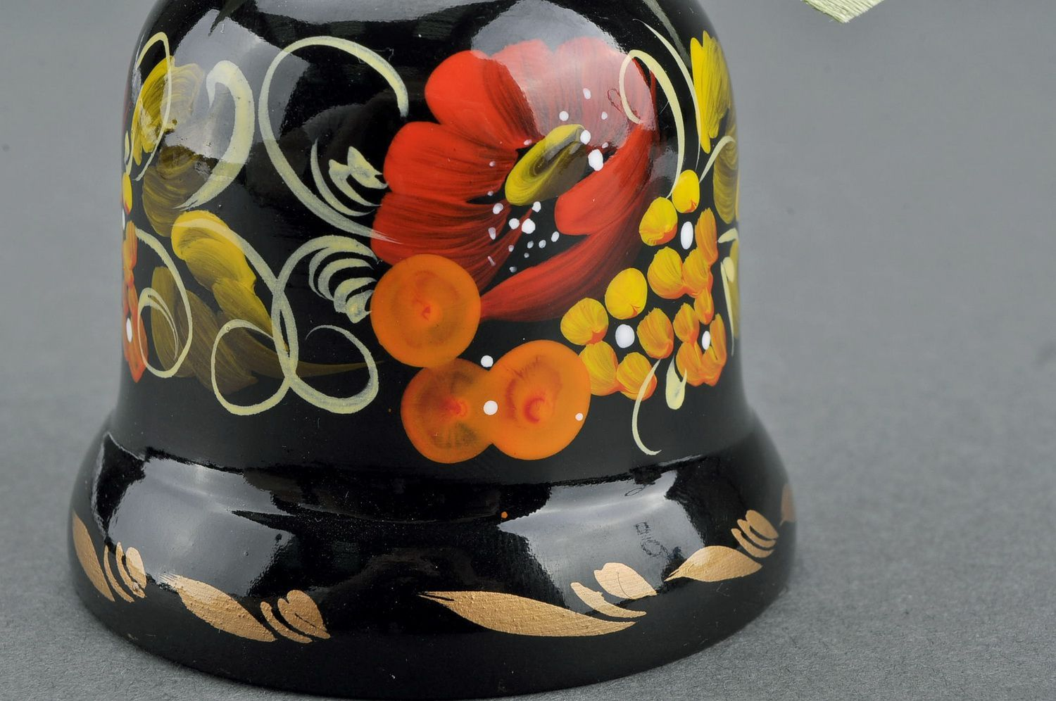 Decorative bell made from wood Poppy blossom photo 4