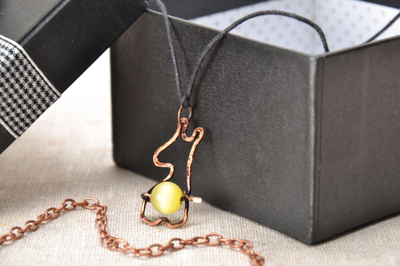 Copper and cat's eye stone pendant photo 1