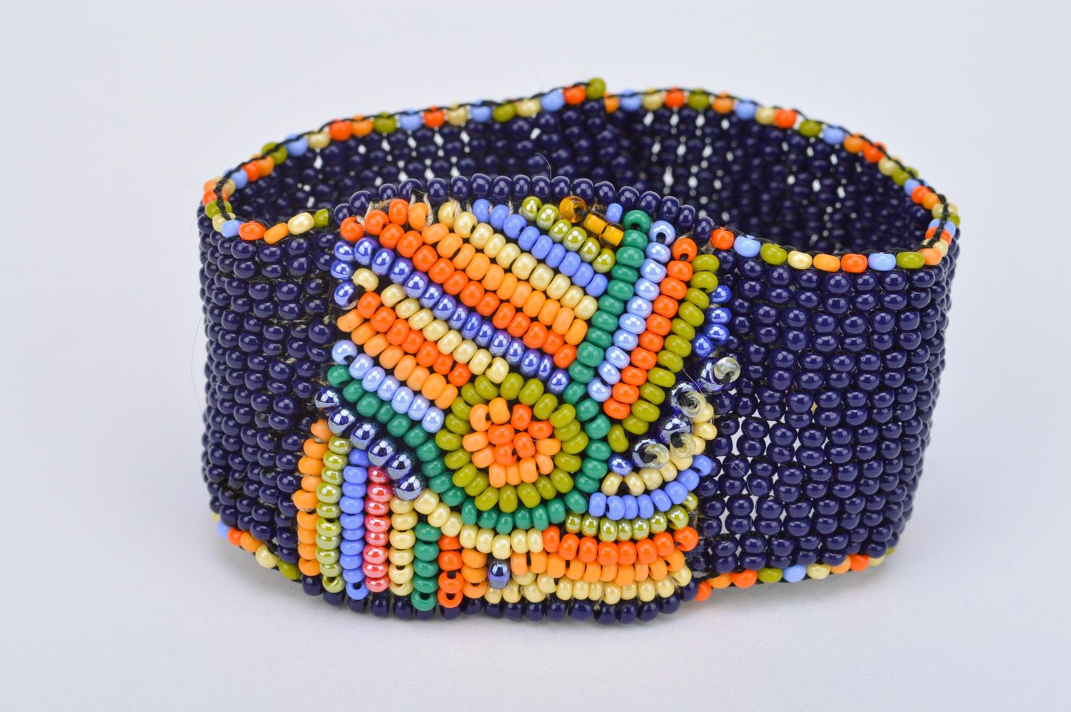 Bright handmade wide woven bead necklace on leather basis photo 2