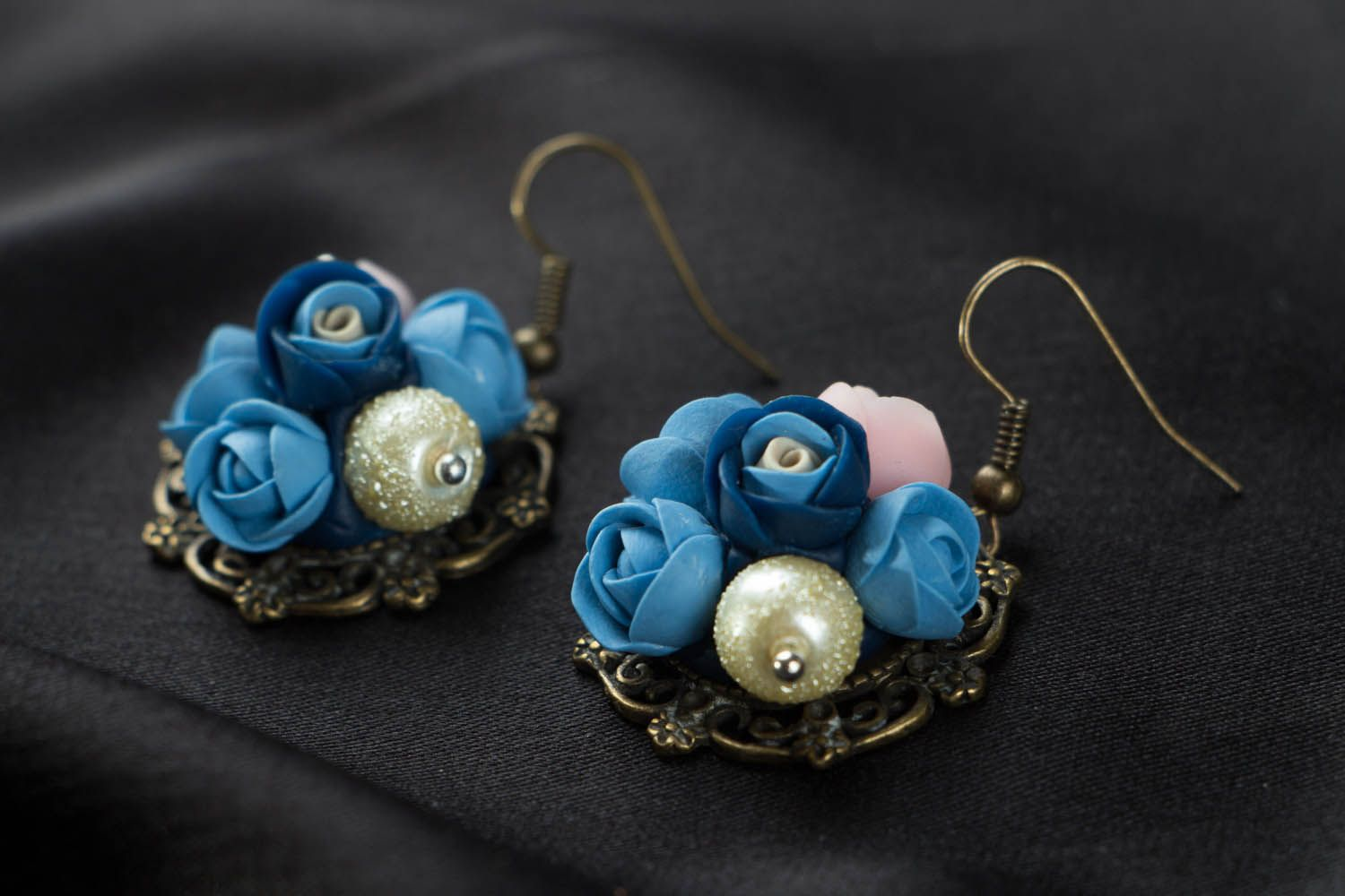 Flower earrings with charms  photo 2