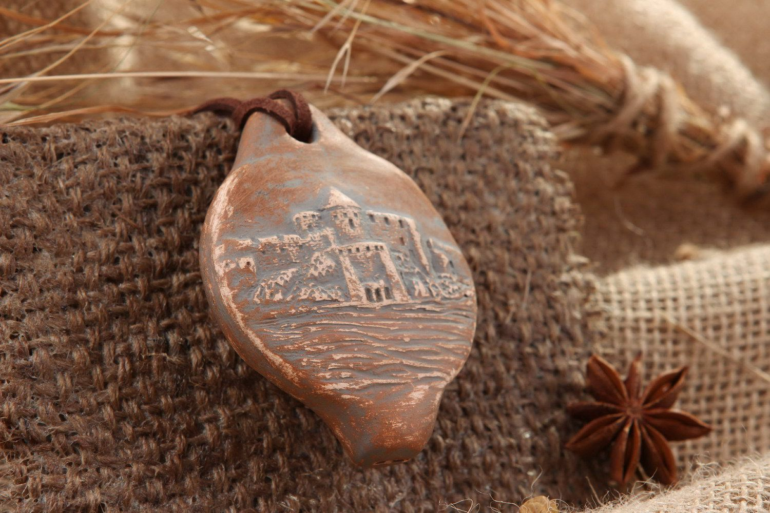 Tin whistle pendant made of clay, 5 sounds, Abandoned fortress photo 1