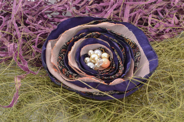 Fabric flower brooch photo 1