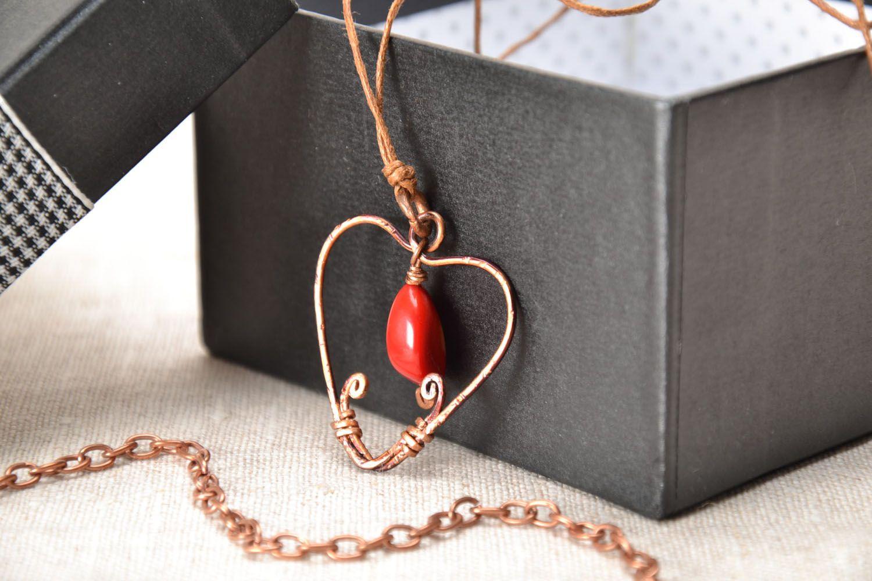 Heart-shaped copper pendant photo 1