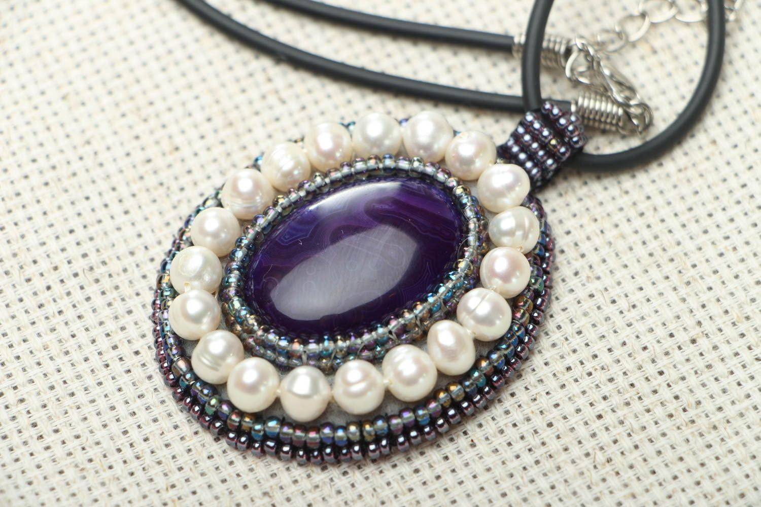 Homemade pendant with amethyst and pearls photo 2
