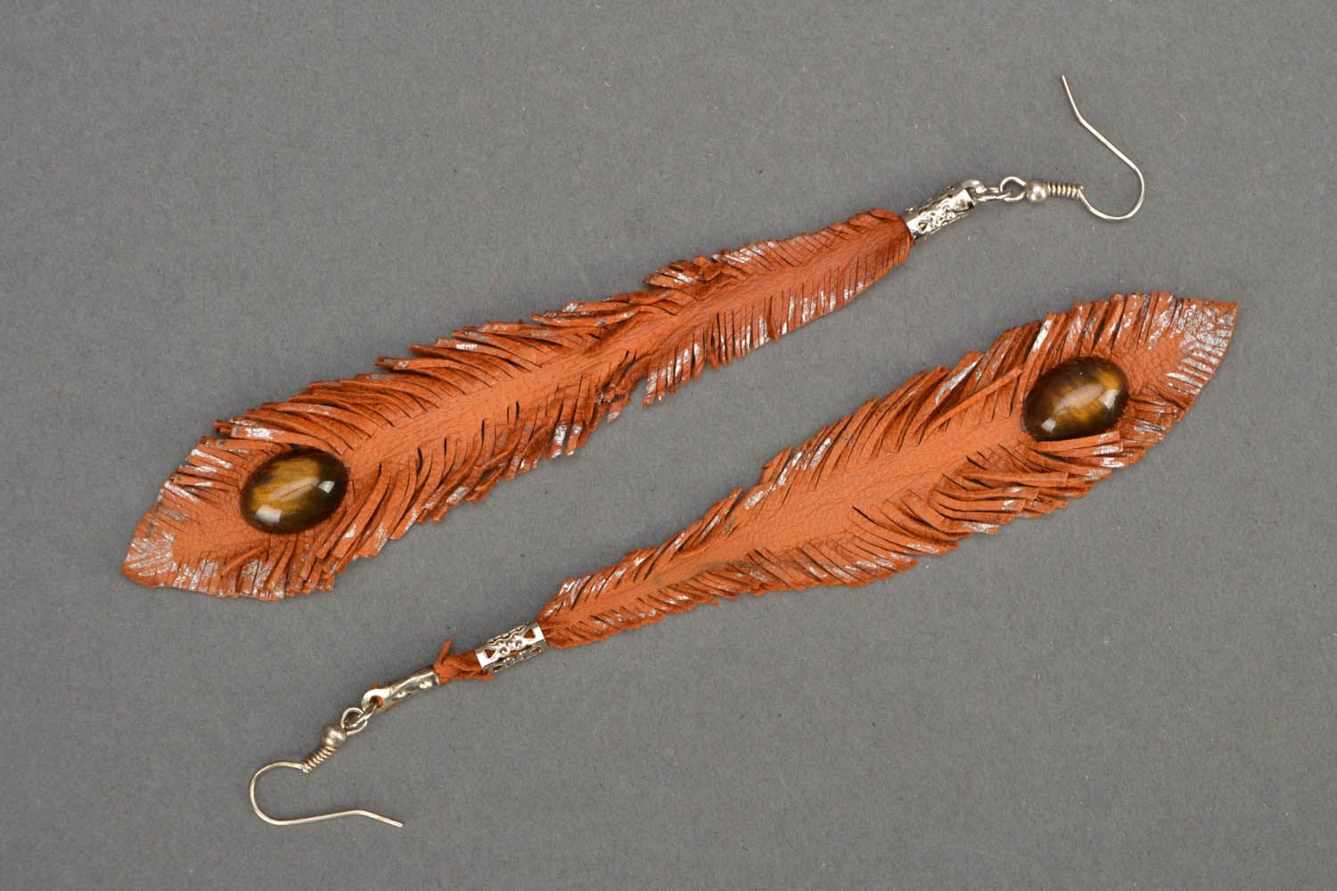 Long leather earrings Feathers photo 3