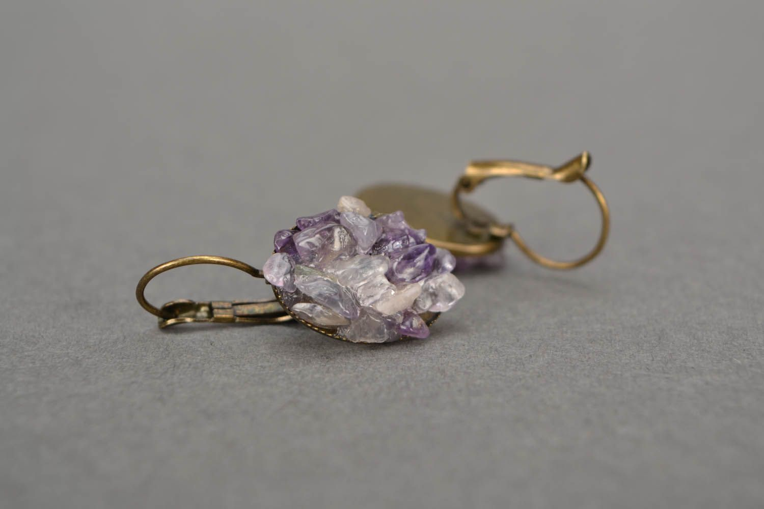 Oval amethyst earrings  photo 5