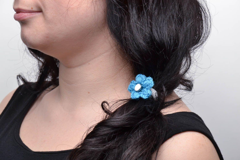 Маленькие вязанные резинки для волос 2 штуки фото 5