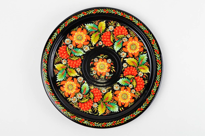 madeheart assiette d corative murale faite main noire peinte motif floral cadeau original. Black Bedroom Furniture Sets. Home Design Ideas