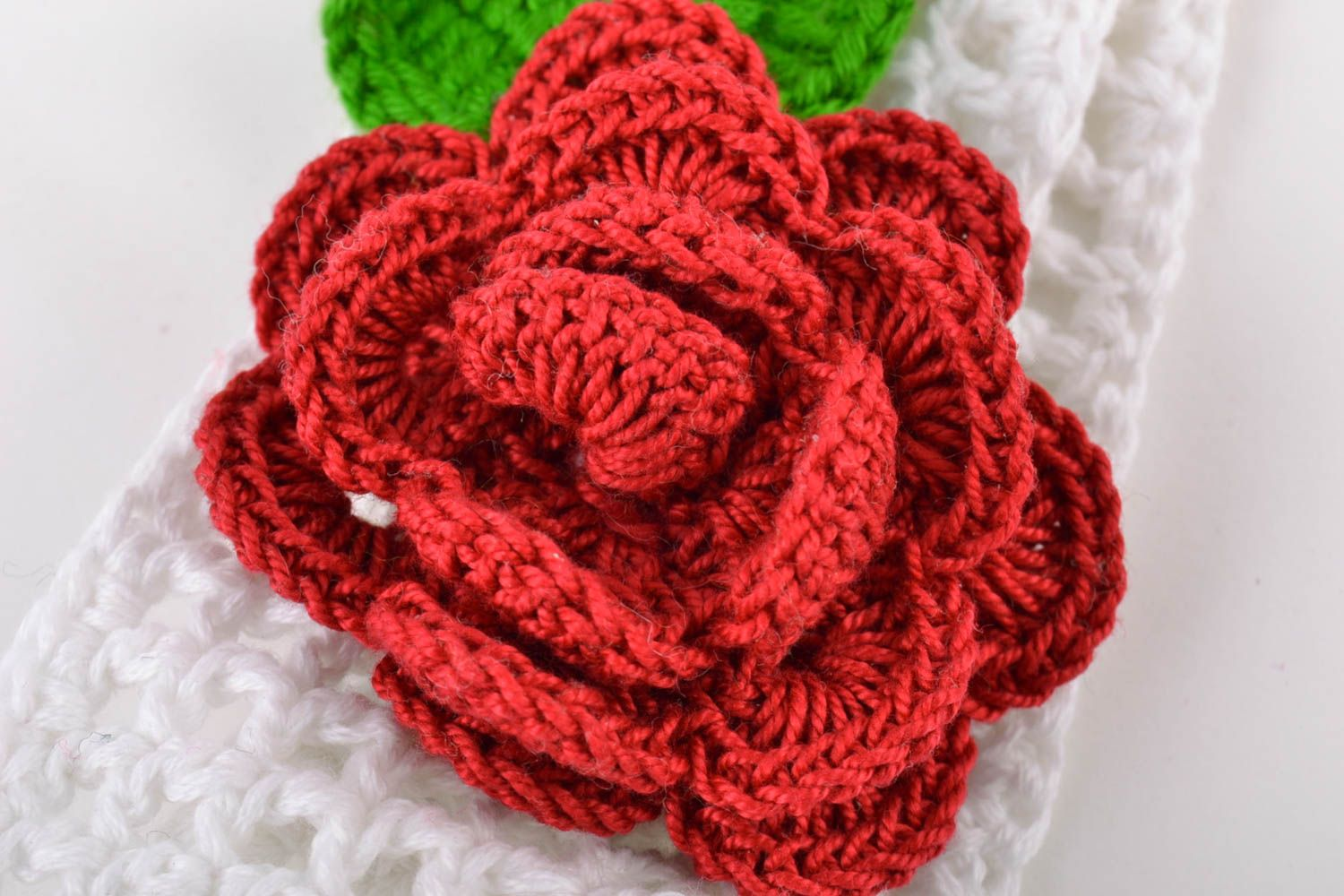 Handmade wide lacy crochet white headband with volume red flower for baby girl photo 3