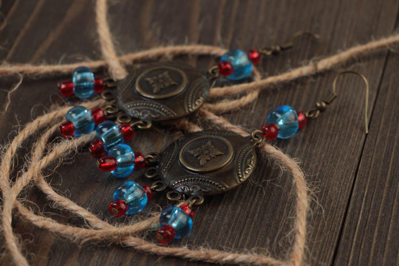 Handmade long metal earrings unusual designer earrings stylish accessory photo 1