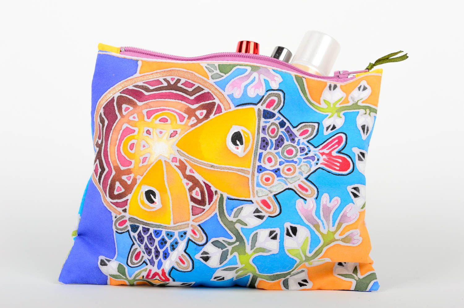 Cosmetic bags makeup bags handmade train cases women bag case with painting photo 1