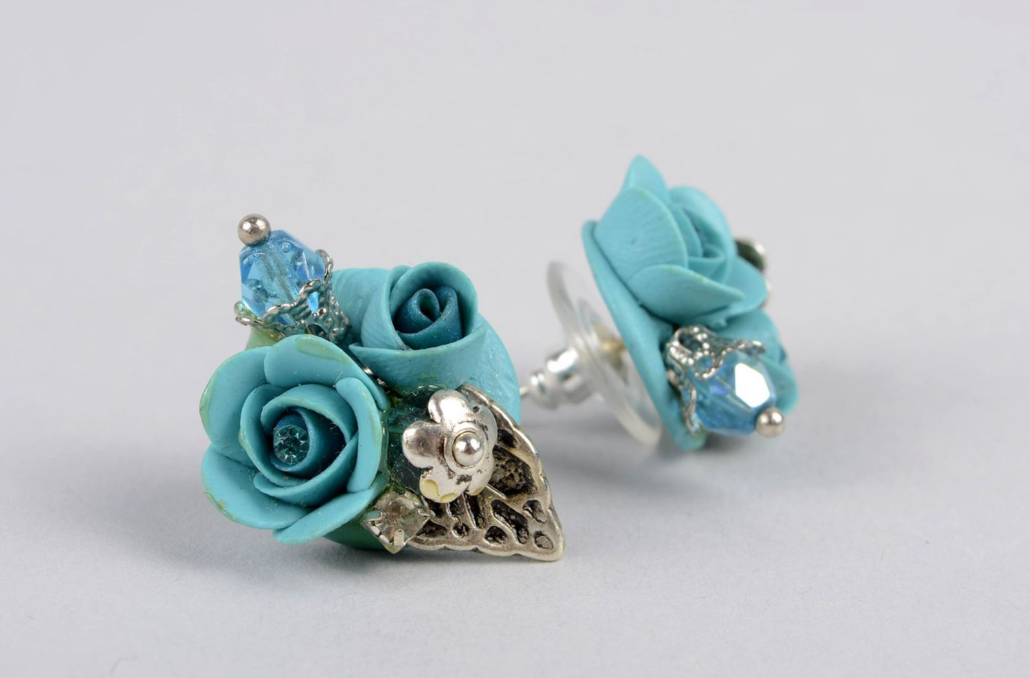 Handmade stud earrings polymer clay accessories plastic earrings with flowers photo 4
