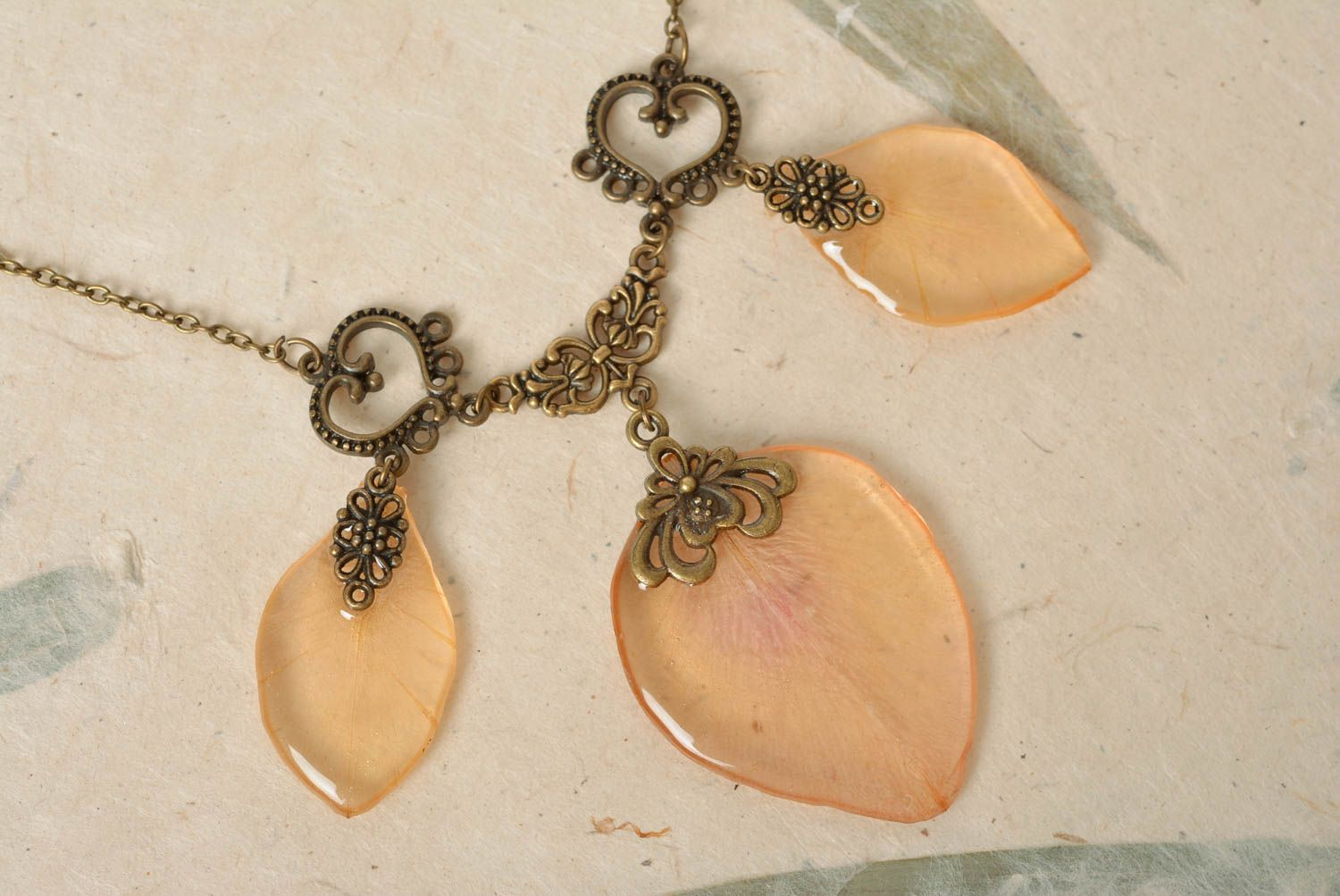 Beautiful handmade peach colored gentle necklace with epoxy coating on chain photo 4