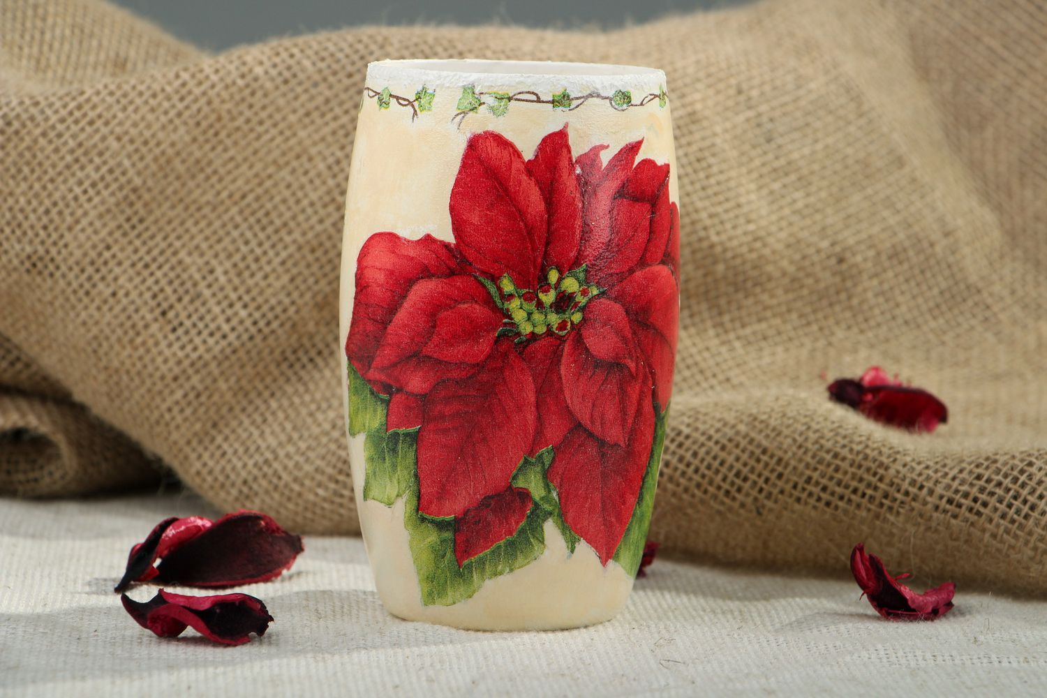 5 inches ceramic vase with floral red flower décor 0,4 lb photo 5