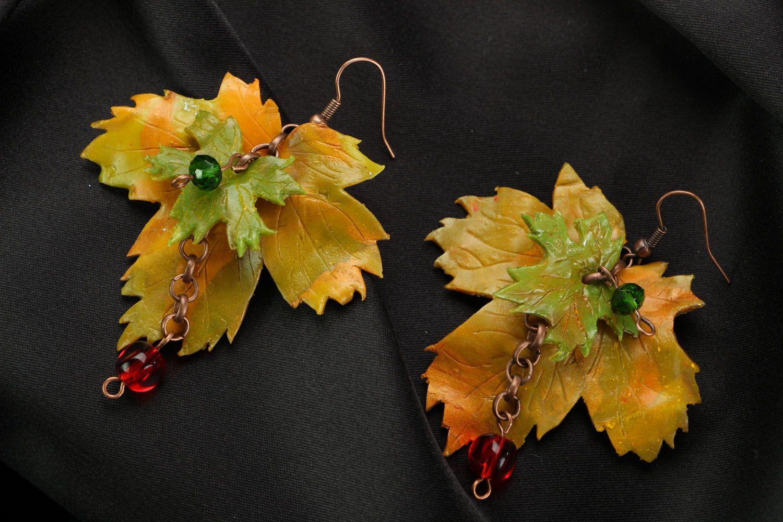 Ohrringe aus Polymerton Herbstblätter foto 1
