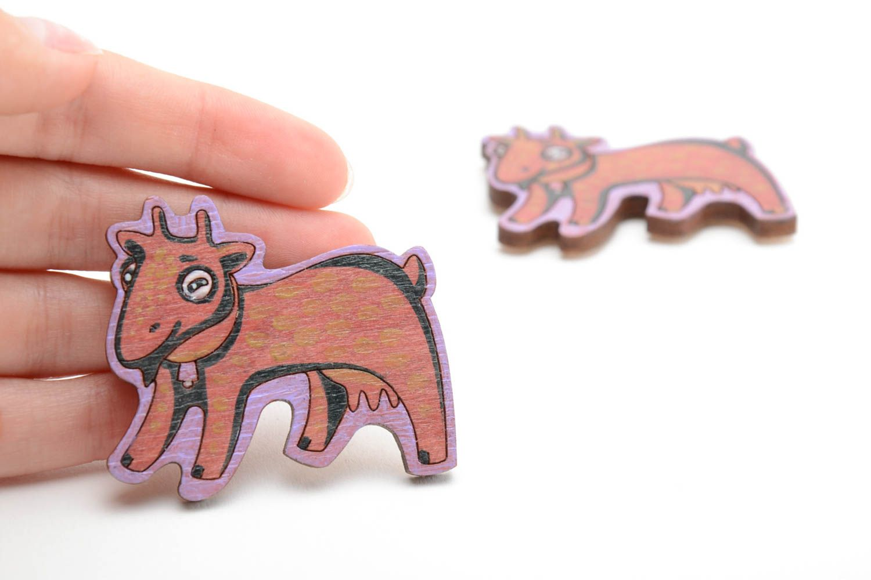 Bright funny children's handmade plywood fridge magnets set 2 pieces  photo 5