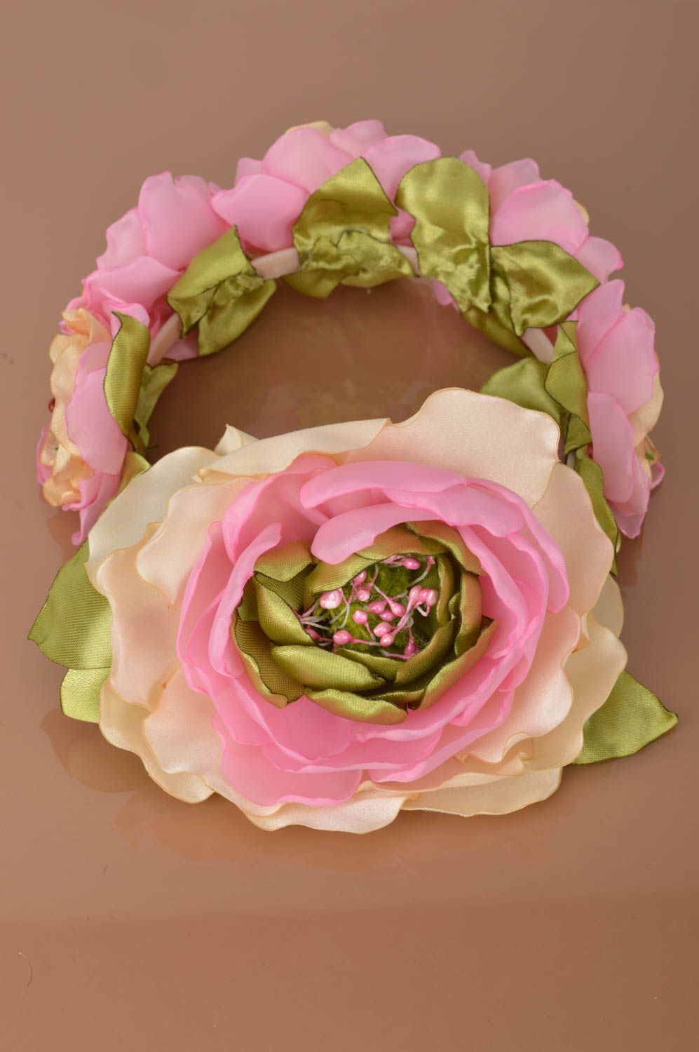 Set of handmade pink floral accessories 2 items headband and brooch photo 4