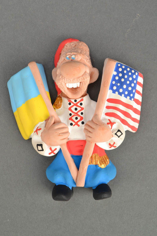 Ceramic fridge magnet Cossack with Flags photo 5