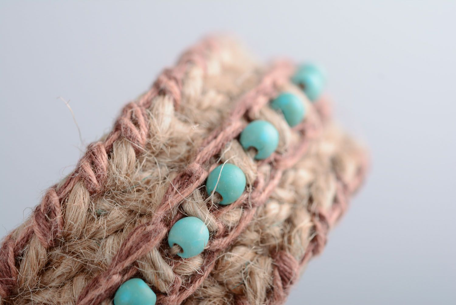 Friendship barcelet woven of jute and linen threads photo 4