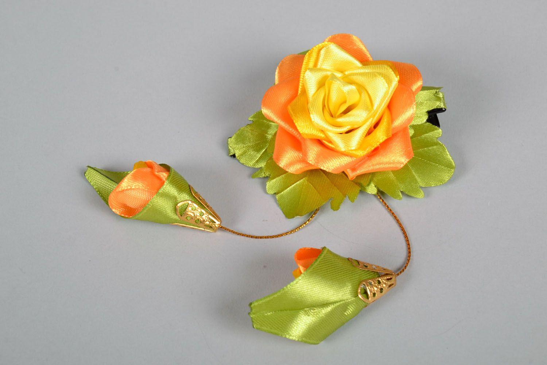 Satin hair clip Chinese Rose photo 2