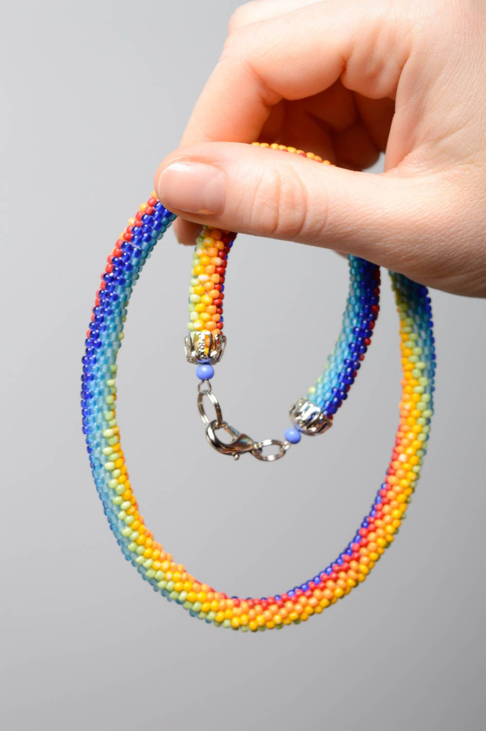 Colorful beaded cord necklace Rainbow photo 5