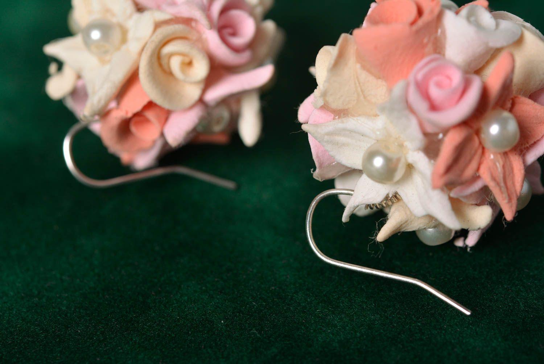 Handmade designer tender floral stud earrings molded of polymer clay photo 5