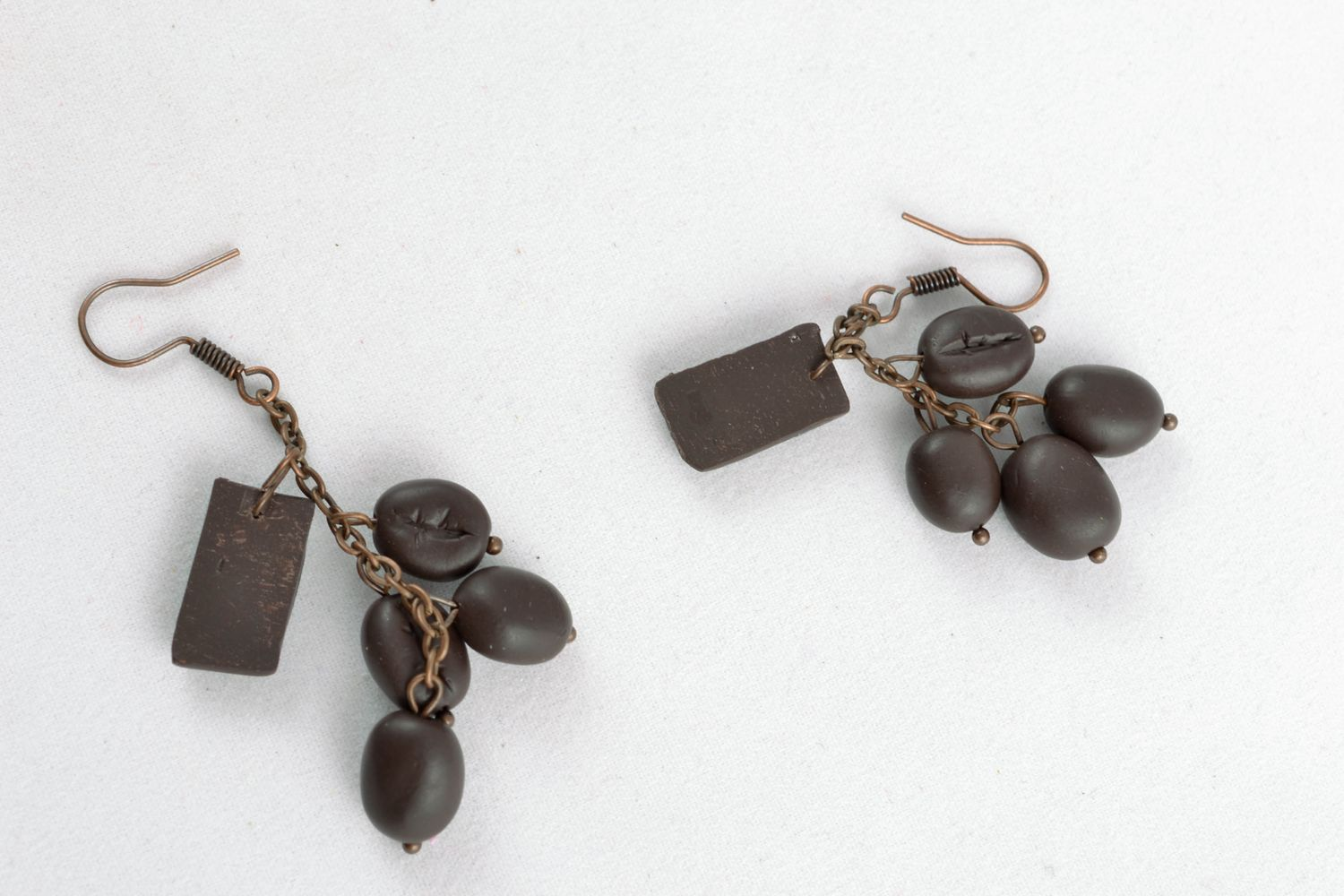 Earrings with polymer clay charms Coffee Chocolate photo 4