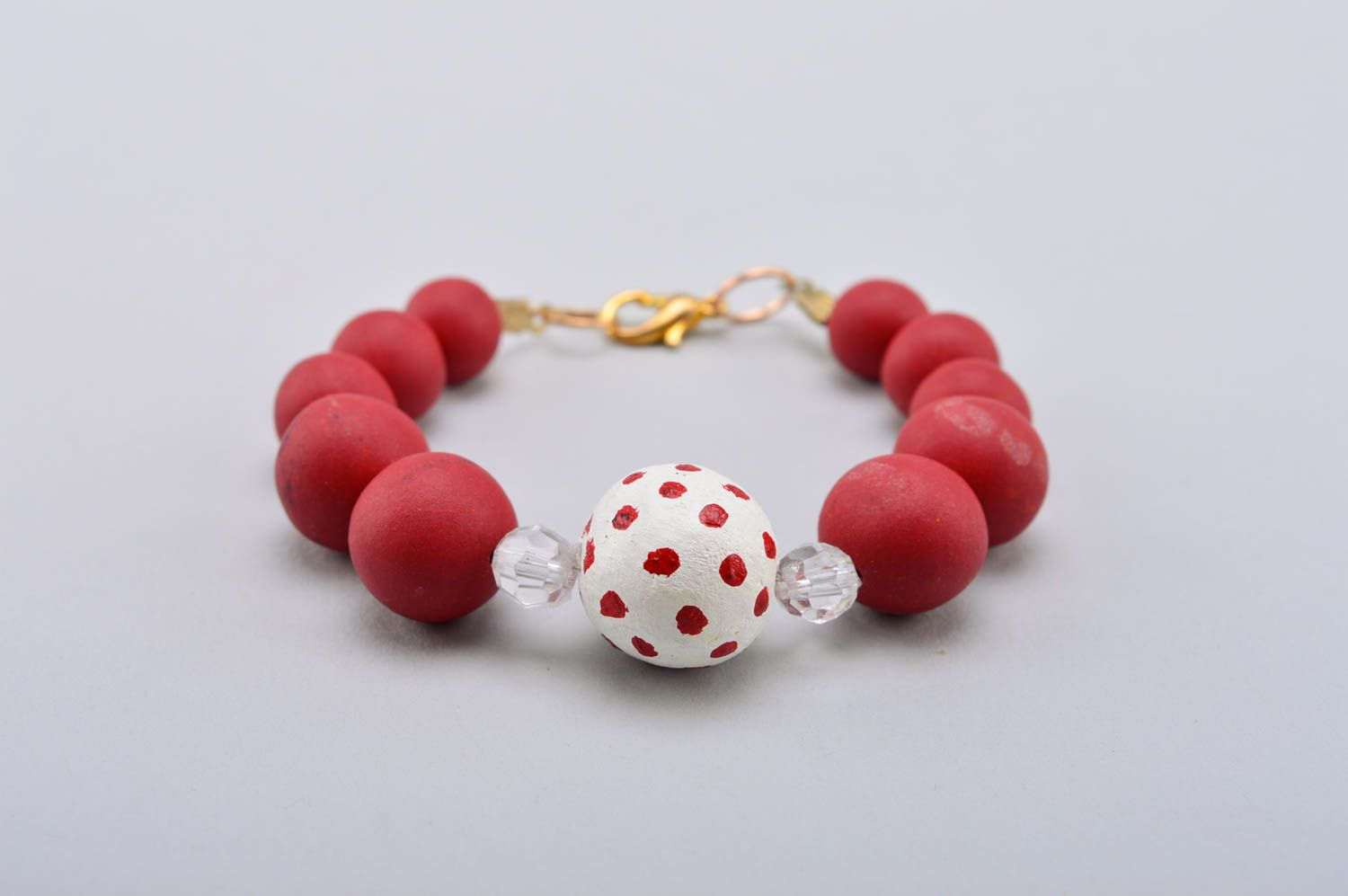 Handmade beautiful bracelet plastic red bracelet stylish wrist accessory photo 2
