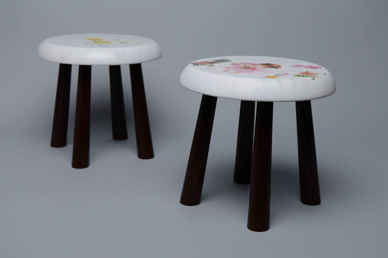Magnificent Handmade Decoupage Wooden Stool Machost Co Dining Chair Design Ideas Machostcouk