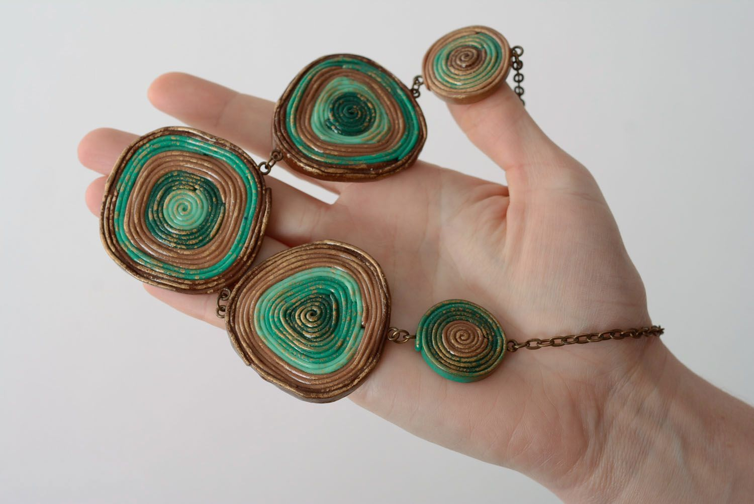 Unusual polymer clay necklace photo 4