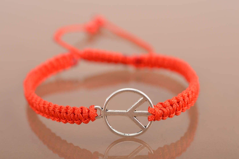 Handmade decorative bracelet with symbol of peace designer textile accessory photo 4