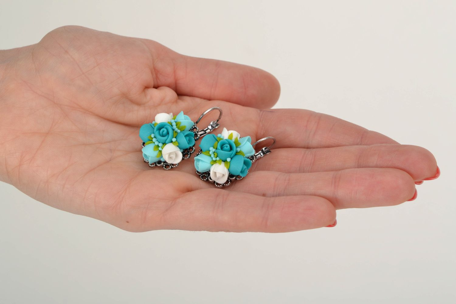 polymer clay earrings Unusual polymer clay flower earrings Turquoise - MADEheart.com