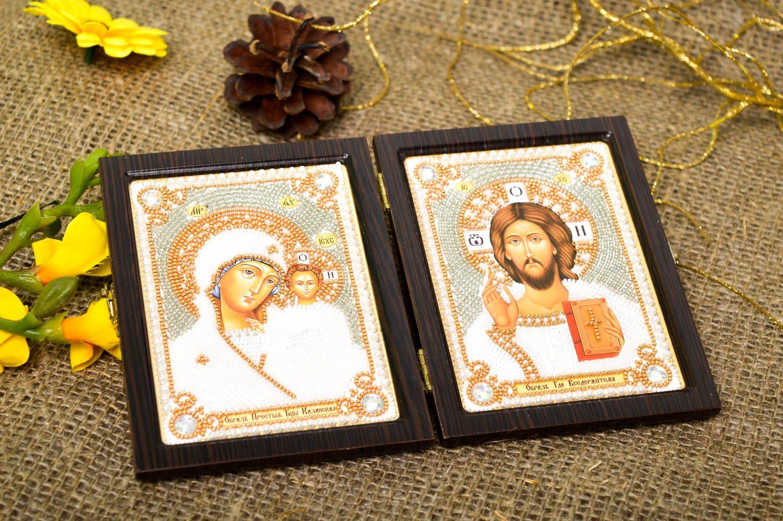 Handmade beautiful icon embroidered family icon religious housewarming gift photo 1
