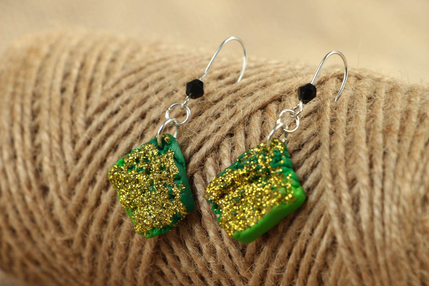 Unusual polymer clay earrings photo 4