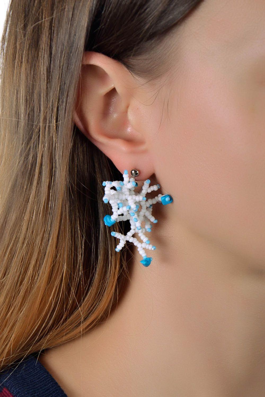 Beaded earrings White pearls photo 5