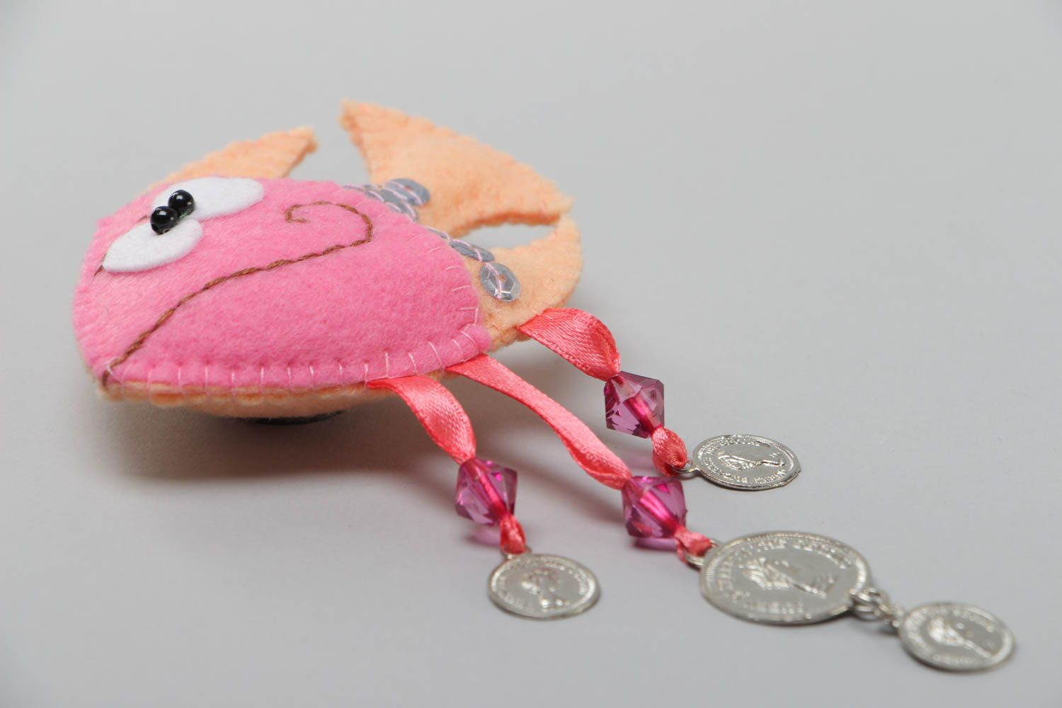 Handmade soft toy fridge magnet sewn of felt with beads and coins charms Fish photo 3