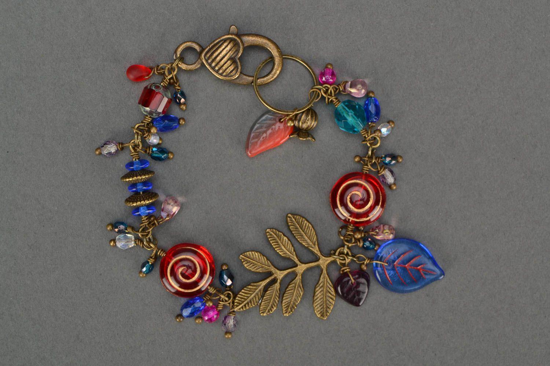 Originelles schönes buntes handgemachtes Armband aus Glas Winter Berberitze foto 1