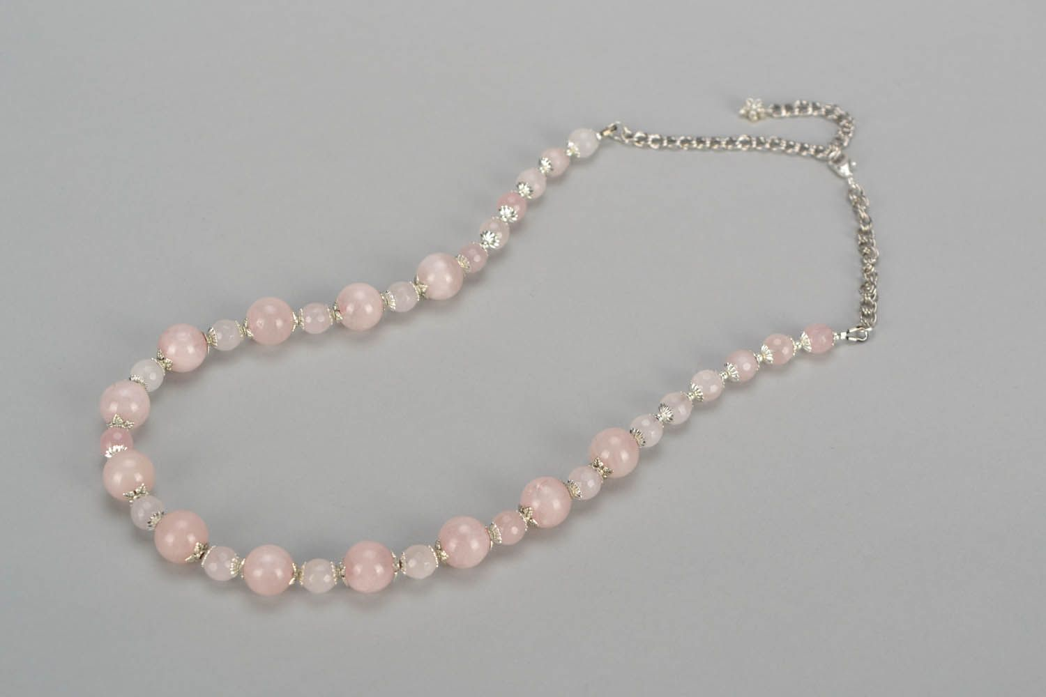 birthstone necklaces Beaded necklace with pink quartz - MADEheart.com