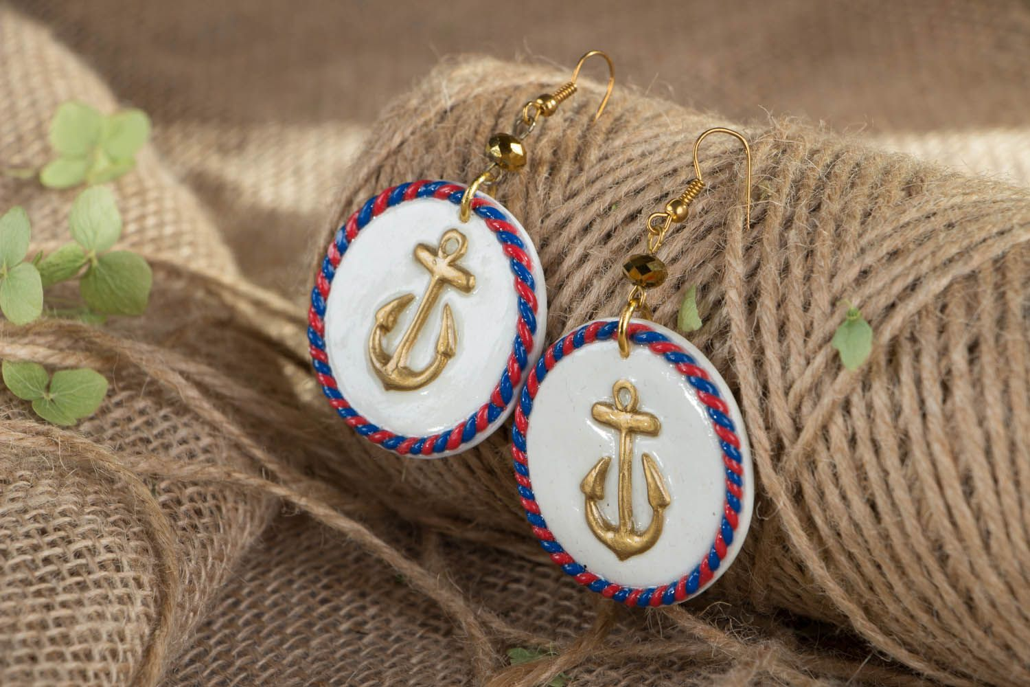 Polymer clay earrings in marine style photo 3