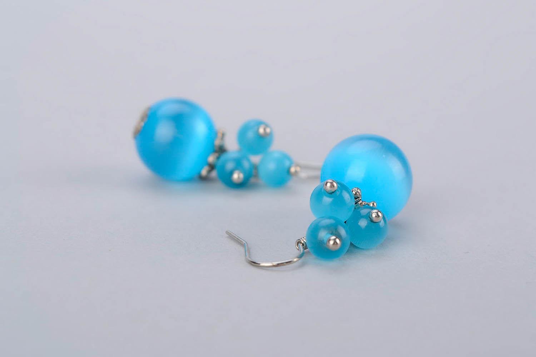 Boucles d'oreilles avec opale oeil de chat photo 4