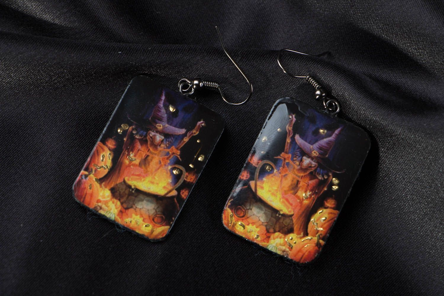 Polymer clay earrings Little Witch photo 4