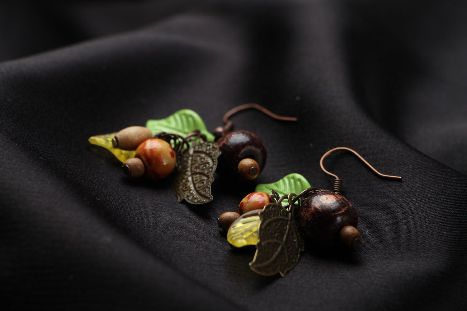 Earrings with wooden beads photo 2
