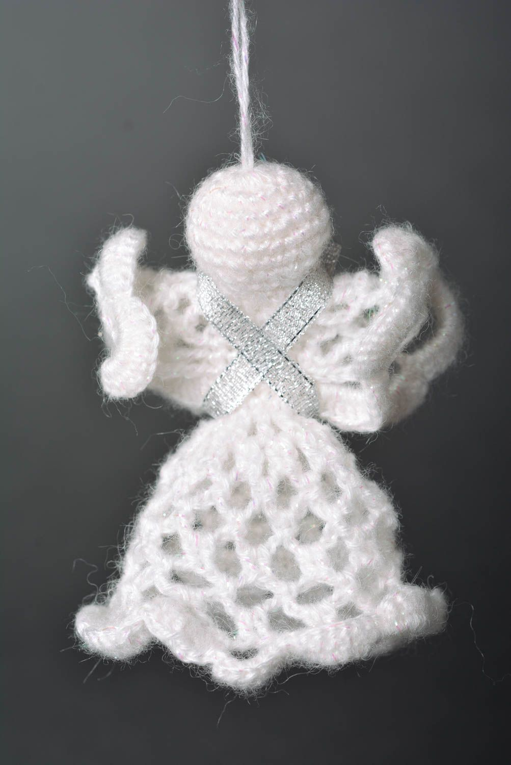 Madeheart d coration de no l d co fait main ange tricot for Decoration de noel fait main