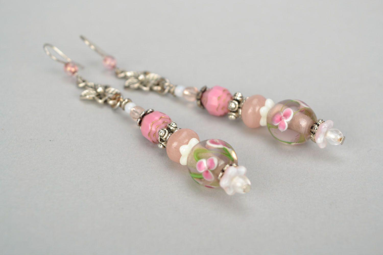 Pink glass earrings photo 4