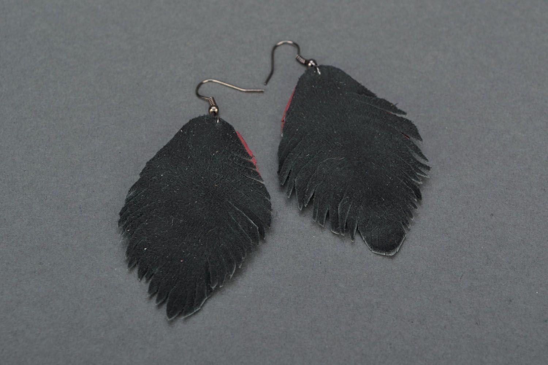 Leather dangle earrings Leaves photo 5