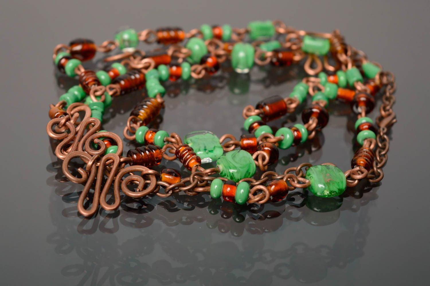 Wire wrap necklace-belt with designer lampwork beads Miria photo 1