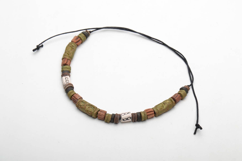Глиняный браслет в этническом стиле фото 4