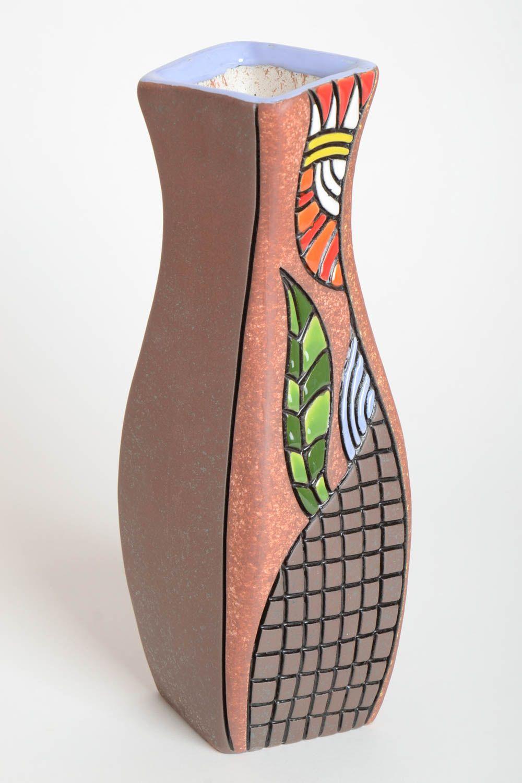madeheart vase argile d co maison fait main avec fleur peinte cadeau original design. Black Bedroom Furniture Sets. Home Design Ideas
